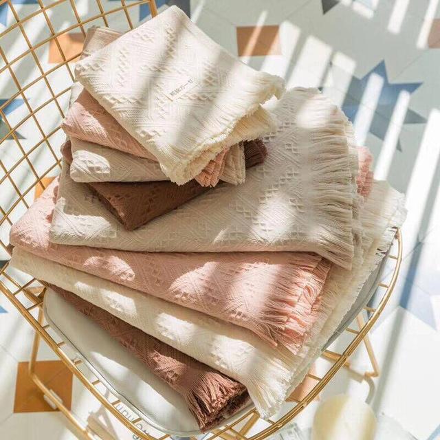 Tassel towel set (2pcs) breathe freely 100 cotton Nordic tassel beach towel 70*140cm Turkey craft gift summer towel soft new cheap Machine Washable Stripe Woven Square 15s-20s Plaid xs008 0 40KGS Yovepii grey beige coffee pink Towel set 1pc shower towel 1pc wash towel 1pc face
