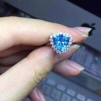 Rắn 925 Sterling Silver Bạc Topaz Tự Nhiên Blue Stone Nhẫn Phụ Nữ Thanh Lịch Đơn Giản Nick Phong Cách Bạc Thật 925 & Quà Tặng Đồ Trang Sức