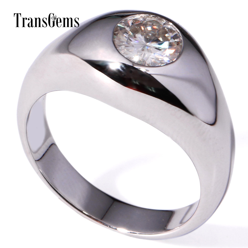 TransGems 1 Carat Lab Grown Moissanite Diamond Solitaire Wedding Band Solid 14K White Gold Engagement Anniversary