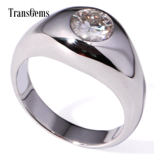 TransGems 1 Carat GH Near Colorless Moissanite Lab Diamond Solitaire Wedding Band Solid 14K White Gold Ring for Men