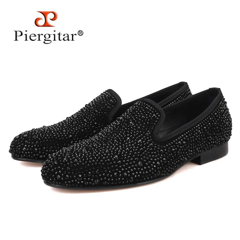 Piergitar 2019 New Suede Genuine Leather Men s Flats Men Black Crystal shoes men smoking slippers