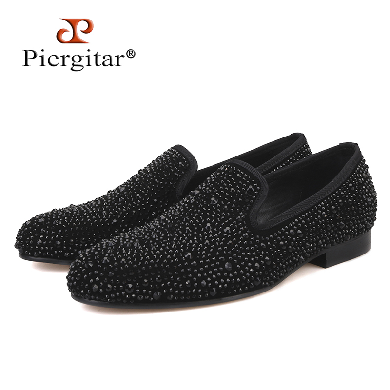 Piergitar 2019 New Suede Genuine Leather Men's Flats Men Black Crystal Shoes Men Smoking Slippers Prom And Party Male Loafers