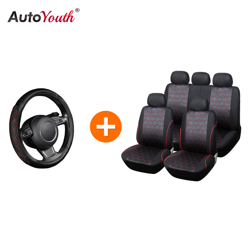 AUTOYOUTH Fashion Style Car Seat Covers Jacquard Fabric + Steering Wheel Cover