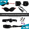 Fetish 8-pcs Set Handcuffs Gag Clamps Whip Collar Erotic Toy Leather  BDSM Bondage Restraint Sex Toy for Couples