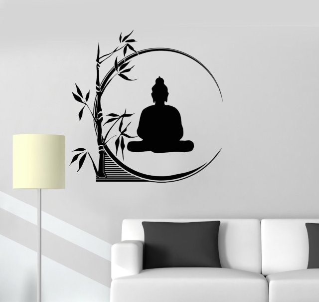 Lovely Buddha Vinyl Wall Sticker Buddha Meditation Circle Bamboo Yoga Reed Buddhism  Mural Art Wall Decal Sticker