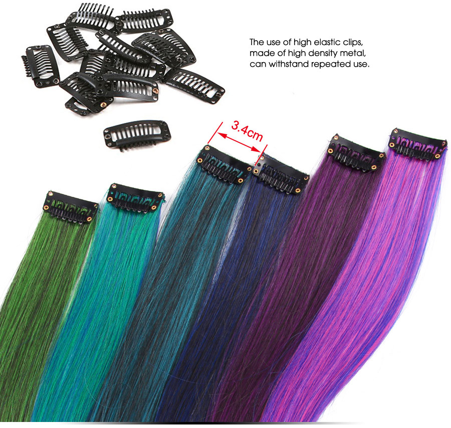 HTB1CRsjXwfHK1Jjy1zbq6yhRFXab - AliLeader Made 57 Colors 50CM Single Clip In One Piece Hair Extensions Synthetic Long Straight Ombre Grey Red Rainbow Hair Piece
