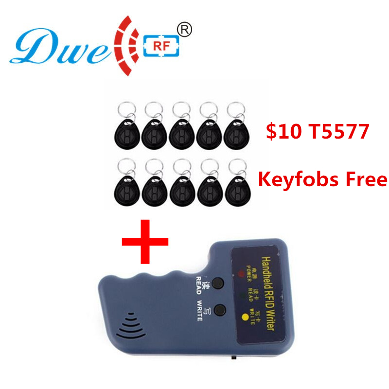 DWE CC RF 125khz rfid handheld reader writer duplicator card copier rf cloner with 10 black rfid keyfobs free cywm6934 rf if and rfid mr li