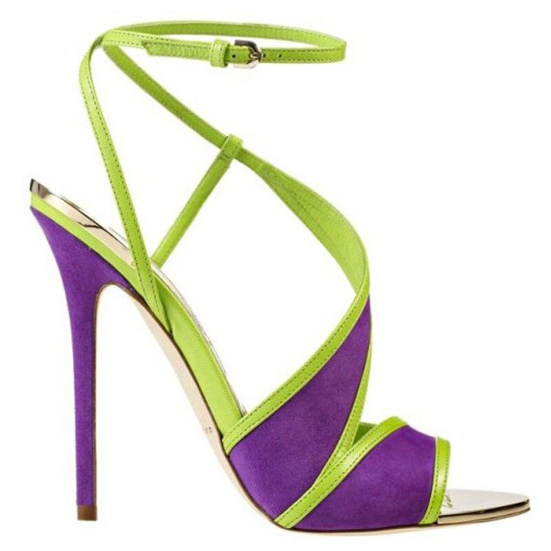 Étroite Grande Taille Bande Purple Sandales Boucle De Talons Mode Pourpre 2019 Bretelles Couleur Partie Cheville Femmes Chaussures Élégante Stilettos Mixte wxO1q8