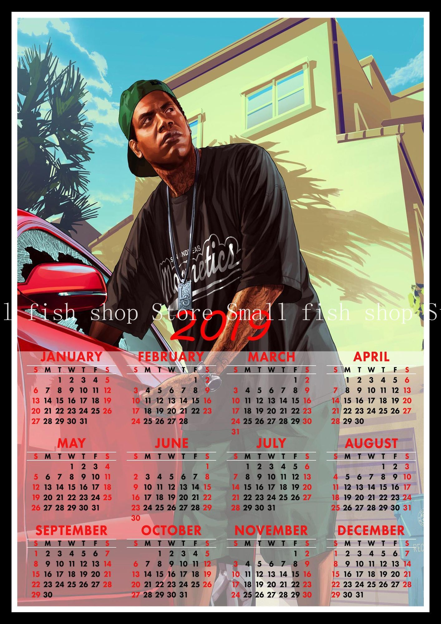 US $2 18 9% OFF|Grand Theft Auto game 2019 calendar poster Home Furnishing  decorative white coated paper Wall Sticker Home Decora-in Wall Stickers
