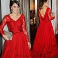 Elegante 2017 vestido de Noite Vermelho Vestidos de Mangas Compridas Rendas Vestido De Festa Da Princesa Estilo Vestidos Formais Para Vestidos de Festa de Casamento