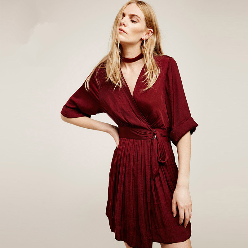 Buy Cheap Women Dress Christmas Long Sleeve Slim Vintage Sexy Dress 2016 New Arrival Party Dresses Vestidos Wine Red