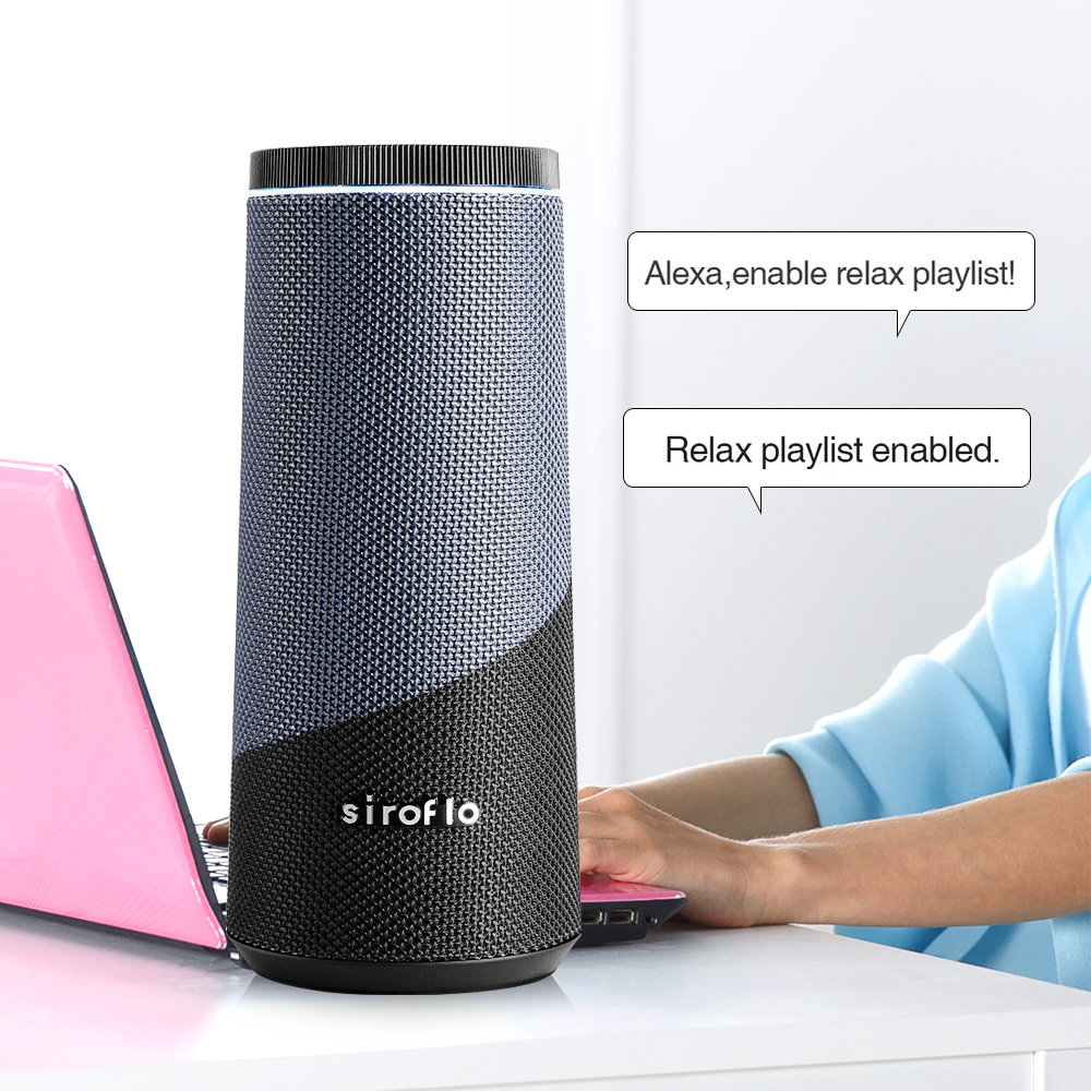Inteligente Speaker wth Amazon Alexa Siroflo Multi-Sala de Controle de Voz Sem Fio Bluetooth Alto-falantes de Rádio Chamada Jogador AUX Handsfree