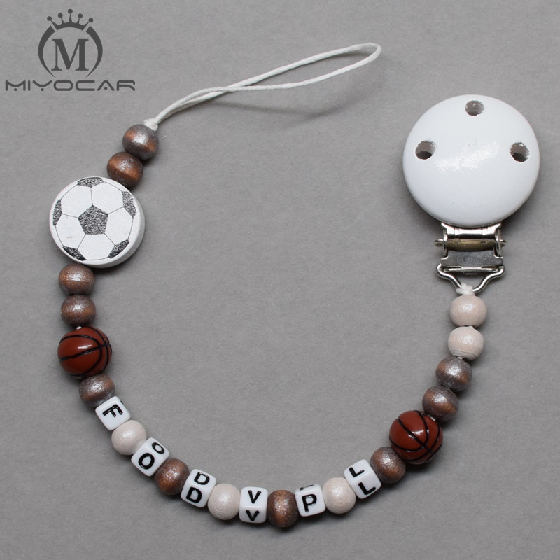 MIYOCAR Personalised -Any name red star and football wooden beads dummy clip holder pacifier clips soother chain teether clip