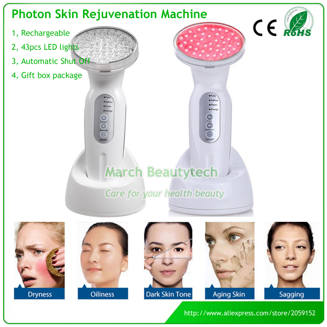 Portable USB Rechargeable Red LED Photon Light Therapy Face Pores Removal Dark Circles Remove Anti-wrinkle Facial Beauty Deive anti acne pigment removal photon led light therapy facial beauty salon skin care treatment massager machine