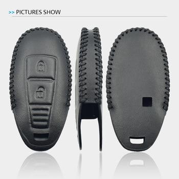 2 Button Leather Car Key Case For Suzuki 2014 2015 S-Cross Kizashi SX4 Swift Smart Remote Fob Shell Cover Keychain Protector Bag
