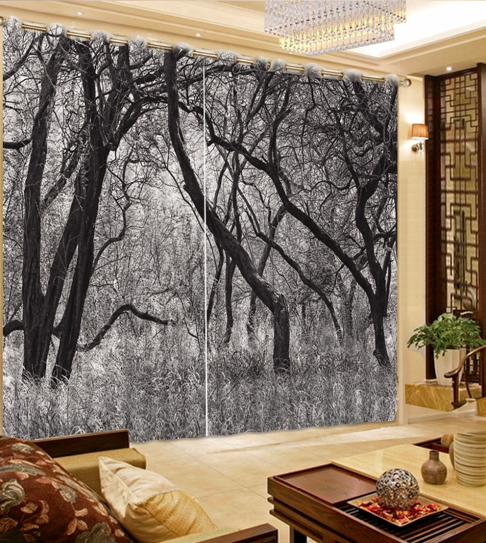 Dark Bedroom Curtain Ideas Black White Blue Bedroom Sherwin Williams Bedroom Paint Ideas Art For Bedroom: Black And White Winter Forest Landscape Curtains For