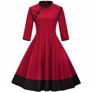 Image 2 - ملابس للسيدات بمقاسات كبيرة 3XL 4XL فستان عتيق لاستعادة الياقة القديمة لربيع وخريف الماندرين مرقع باللون الأسود والأحمر