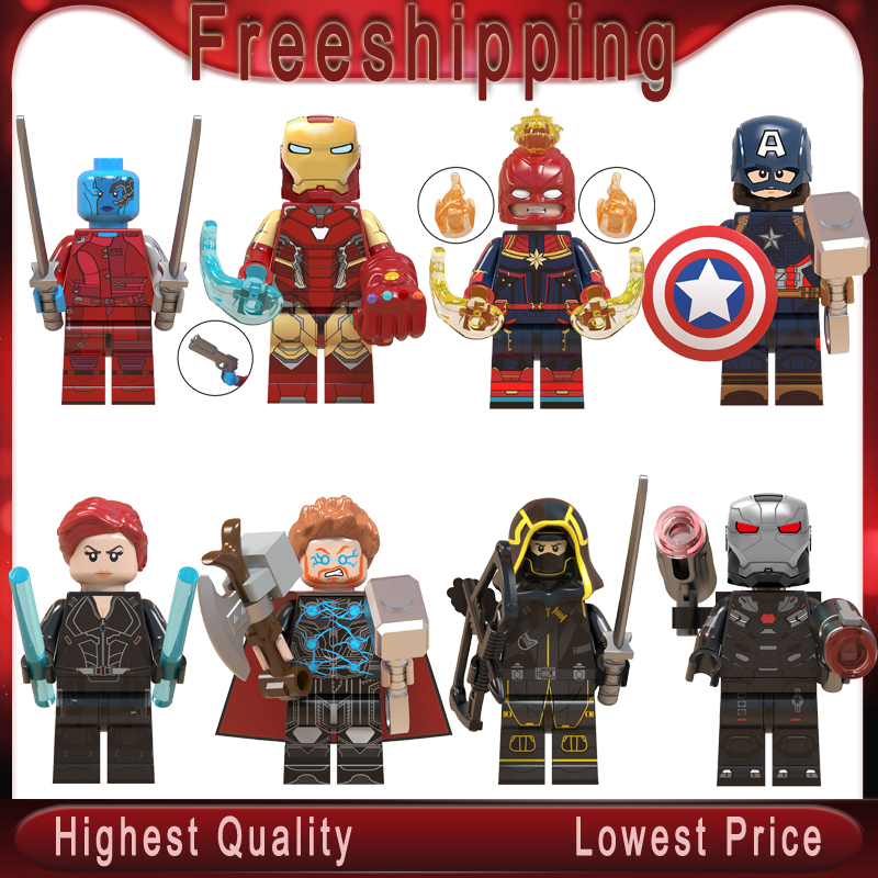 Endgame Legoe Minifigured Thanos Thor Iron Man Cap Marvel Black Widow Ronin Avengers 4 Building Blocks Toys For Children WM6056(China)
