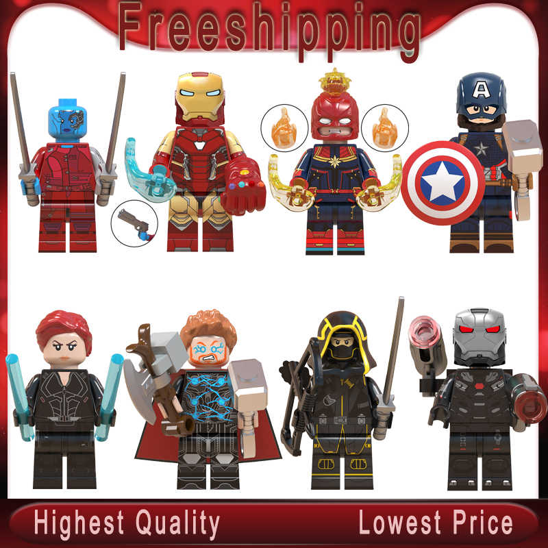 Endgame   Thanos Thor Iron Man Cap Marvel Black Widow Ronin Avengers 4 Building Blocks Toys for Children WM6056