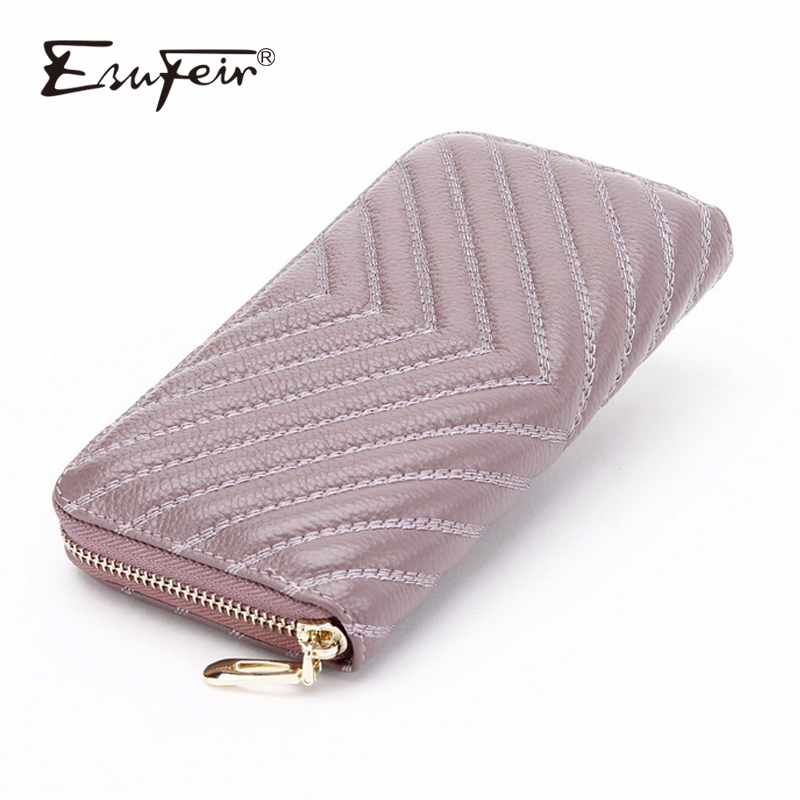 ESUFEIR 100% Genuine Leather Women Wallet Fashion Standard Long Wallet Cards Holder Large Capacity Cow Leather Coin Purse Clutch цена