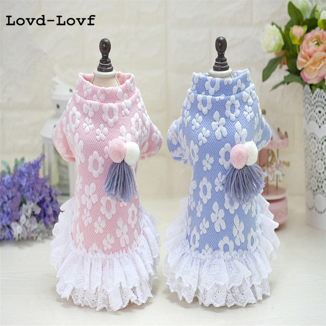 Lovd-Lovf Winter Warm New Dog hoodie clothes High Quality Sweety Floral Pet Princess Dresses for girls Puppy Cats Pink Sweater