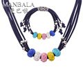 MANBALA Round Big Hole Colorful Rhinestone Beads Necklace and Cute Bracelet Women Handmade Trendy Adjustable Jewelry Sets 900AS