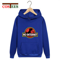 2019 Nerd Parody No internet Dinosaur Park Sweatshirts men Dino hoodies streetwear funny Jurassic world warm fleece pocket hoody