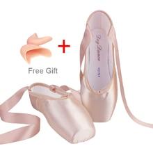 2017 Adulto Criança Lona Ballet Sapatos Bege Rosa De Cetim Ballet Pointe Sapatos de Dança Profissional Com Pad Toe Ballet