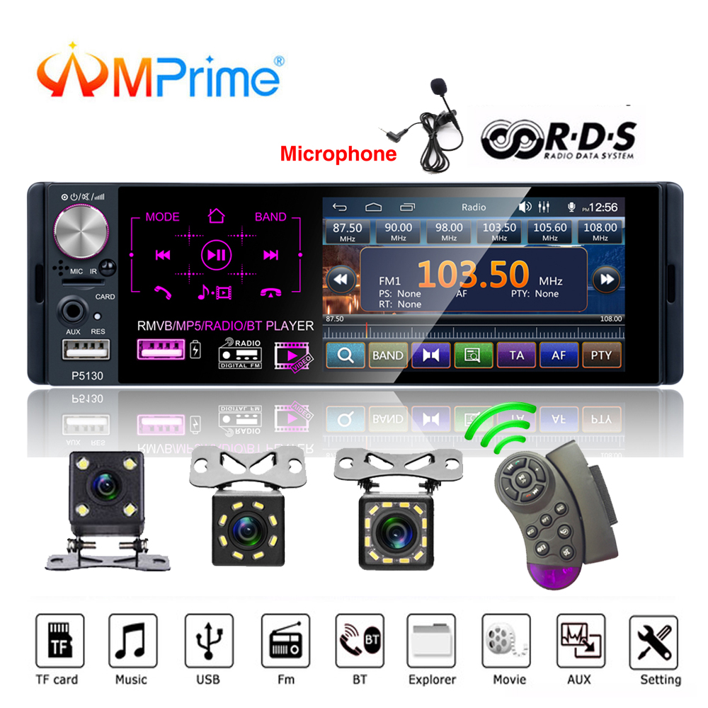 AMPrime Autoradio Car radio 1 din 4 1 touch screen auto audio Microphone RDS stereo bluetooth