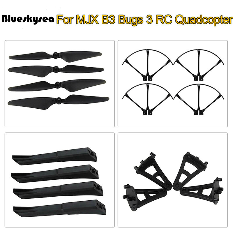 Blueskysea 4x Blades+Protector Guard+Gear Spare Parts For MJX B3 Bugs 3 RC Drone Quadcopter Free shipping free shipping 2 4g mjx f45 f645 rc helicopter spare parts the main shaft connect buckle spare parts for mjx f45 f645