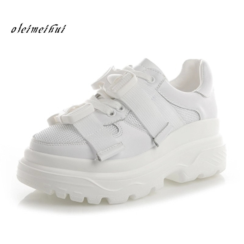 New design Women Casual Shoes high street Thick bottom platform shoes for lady breathable flats white sapato feminino Girls