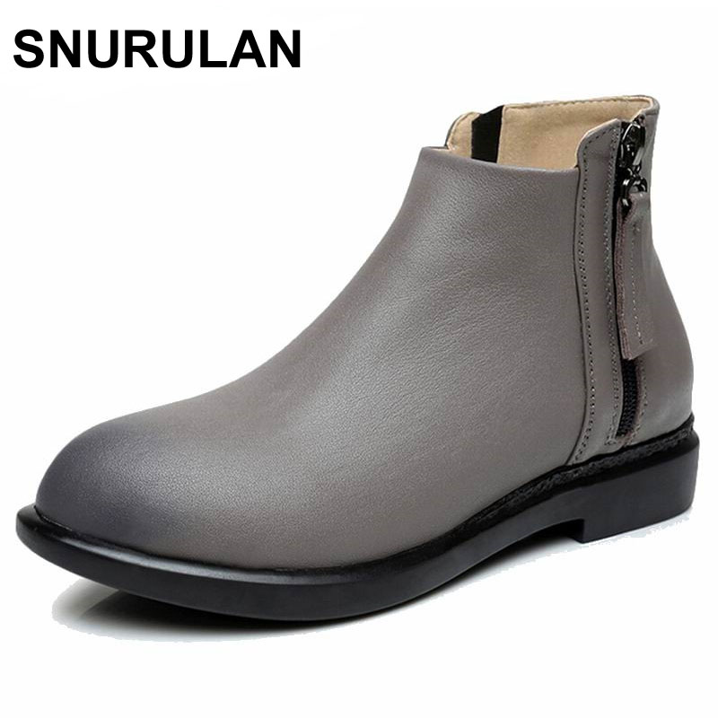 SNURULAN New 2018 Fashion Autumn Winter Boots Women Classic Zip Ankle Boots Warm Plush Genuine Leather Martin Boots Women Shoes