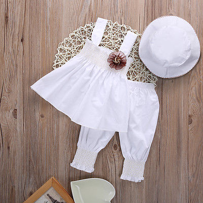 3pcs Sets Newborn Toddler Baby Girls Clothes Casual Cotton Tops + Pants + Hat Summer Kids Outfits Suit 0-24M