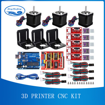3D Printer CNC Kit, voor Arduino GRBL Shield + UNO R3 Board + RAMPS 1.4 Mechanische Schakelaar Endstop + DRV8825 Motor Driver + Nema 17 motor