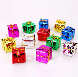 1lot/12pcs Mini Gift Box Drum Bow tie Christmas Tree Pendant Home Decor New Year Hanging Gift Ornaments Xmas Decoration 62442 2