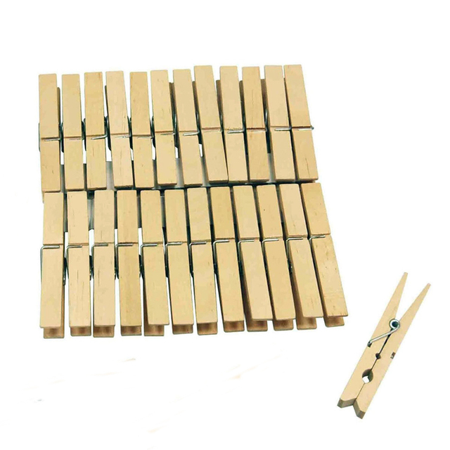 Cheap 20 Pcs Wooden Clothes Clip Pegs Washing Line Hangers Peg Home