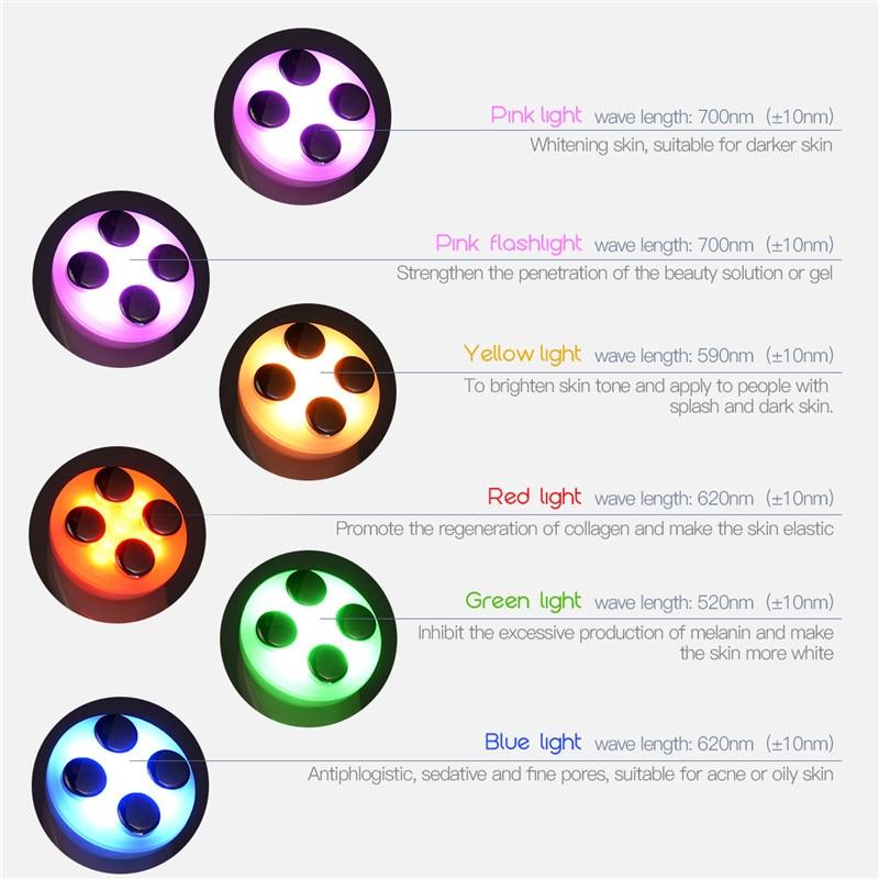 cores led fóton rejuvenescimento face lift apertar