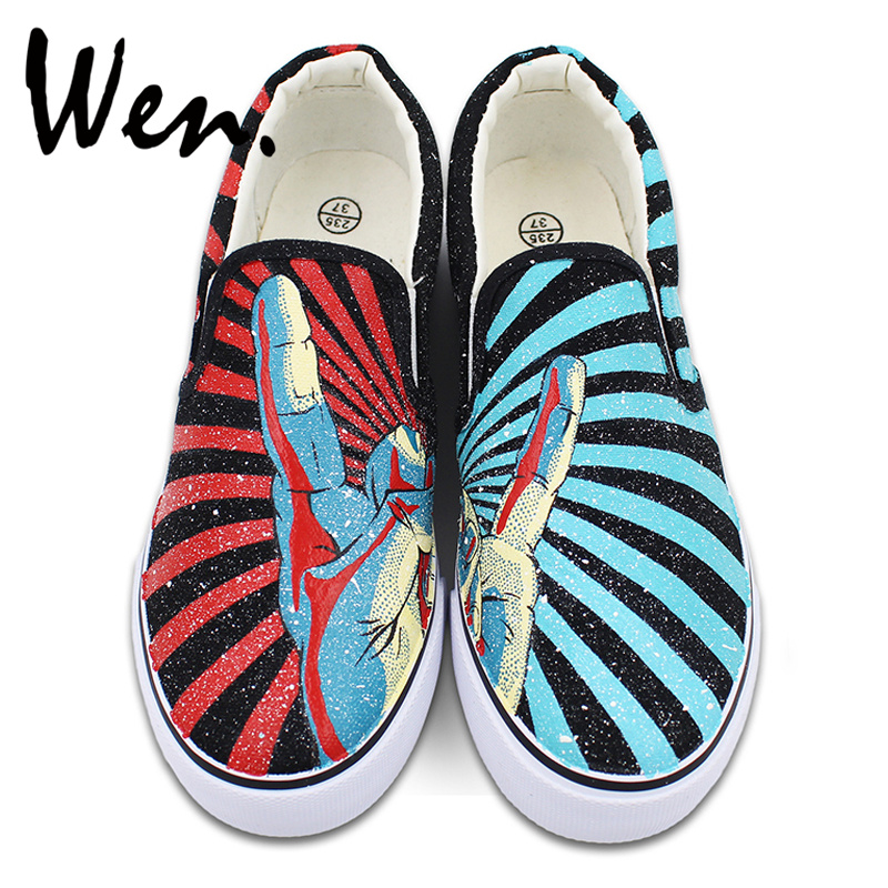 Wen Unisex Hand Painted Shoes Slip on Flats Design Rock and Roll Gesture Red Blue Stripes Canvas Sneakers Birthday Gifts wen customed hand painted shoes canvas the beatles high top women men s sneakers black daily trip shoes special christmas gifts