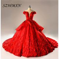 Real Photo Gorgeous Red Tiered Ball Gown Wedding Dresses 2017 3D Flowers Sexy Backless Long Train