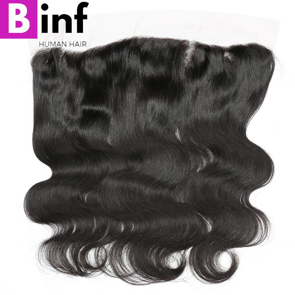 BINF Hair 13x4 Lace Frontal Closure Brazilian Body Wave Human Hair Free Part 130% Density Natural Color Remy Hair Closure