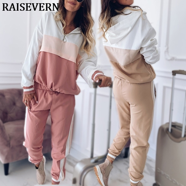 2020 Tracksuit Women Two Piece Set Outfits for Women Slim Color Stitching Jacket Casual Jacket and Jogging Casual Pants Suit