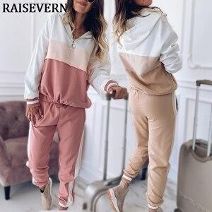 Image 1 - 2020 dres damski zestaw dwuczęściowy stroje dla kobiet Slim kolor kurtka z przeszyciami casualowa kurtka i spodnie garniturowe na co dzień