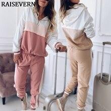 2020 survêtement femmes deux pièces ensemble tenues pour femmes mince couleur couture veste décontracté et Jogging pantalon de costume décontracté