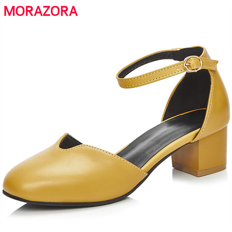 MORAZORA 2018 Large size 34 42 summer shoes buckle solid women PU soft leather pumps med heels shoes 4.5cm fashion party shoes