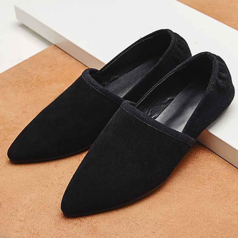 Women s Suede Leather Slip on Ballet Flats Brand Designer Pointed Toe Ballerinas Shoes for Women
