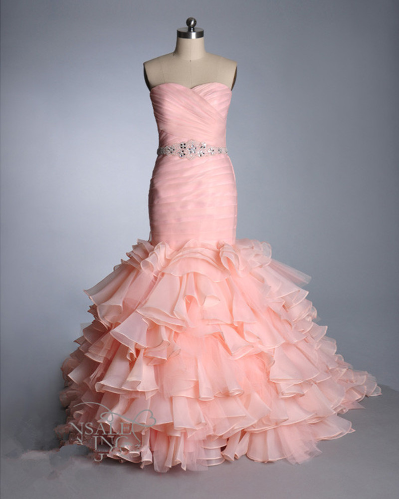 hot sale vestidos de novia pleated sweetheart blush pink wedding dress 2017 ruffled mermaid wedding dresses organza bridal gown
