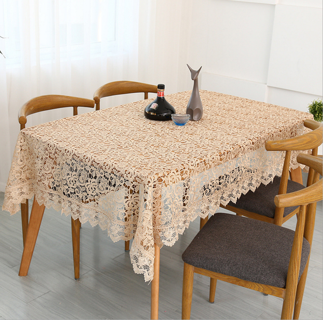 Exceptionnel Free Shipping Light Brown Coffee Crocheted Tea Table Cloth/piano Cover  Crochet Knitting Embroidery Tablecloth