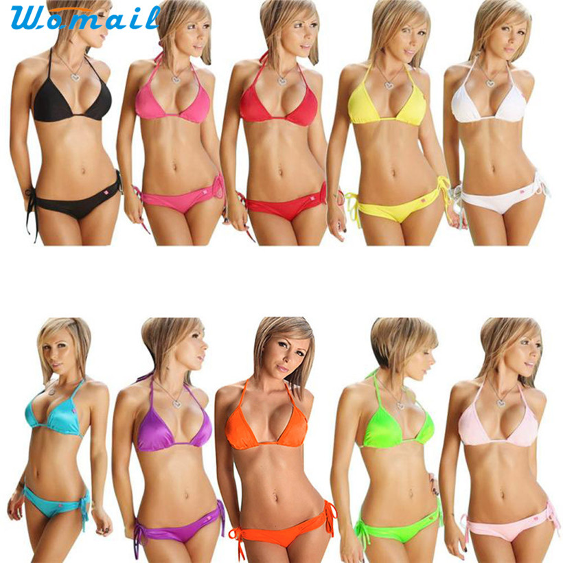Womail Suit Bikini  Women Bikini Set Push-up Bandeau Bra Bandage Swimsuit Bathing Suit Swimwear 2017 drop shopping 1PC
