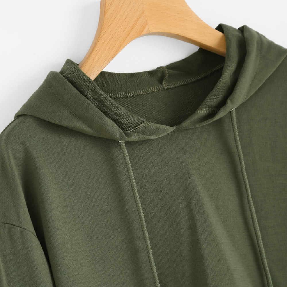 Sudadera con capucha para mujer correa corta recortada paraguas sudadera Tops chaqueta Kawaii Color sólido niña ropa deportiva