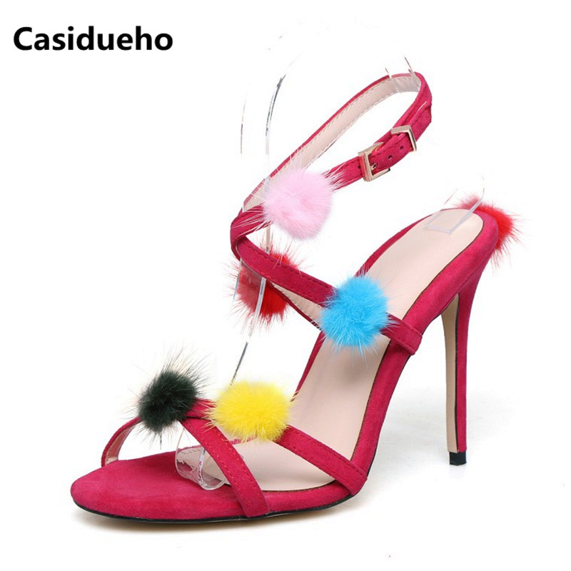 Casidueho Sexy Gladiator Sandals Women Suede Leather High Heels Shoes Woman Mixed Color Ball Open Toe Pumps Cross Tied Slippers casidueho women platform sandals high heels wedge shoes woman big size summer pumps mixed color leather gladiator sandals shoes